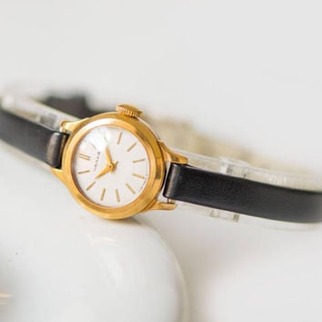 Micro watch gold plated, rare women's watch Seagull, classy watch, petite lady watch minimalist, unique timepiece, new premium leather strap
