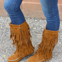 Fringe Boot in Camel