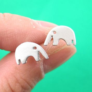 Elephant Abstract Animal Stud Earrings in Sterling Silver | DOTOLY