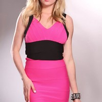 FUCHSIA BLACK  COLOR BLOCK V NECKLINE SEXY DRESS
