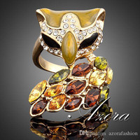 AZORA 18K Real Gold Plated Stellux Multicolour Austrian Crystal Black Color Eye Fox Ring TR0001