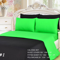 Tache 4-6 Pieces Lime Green/ Black Reversible Duvet Set