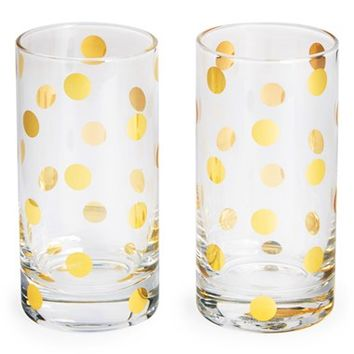 kate spade new york 'pearl place' crystal highball glasses (set of 2)