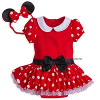 Licensed cool Disney Store Minnie Mouse Baby Costume & Ears Headband 0-3 3-6 6-9 Months NWT