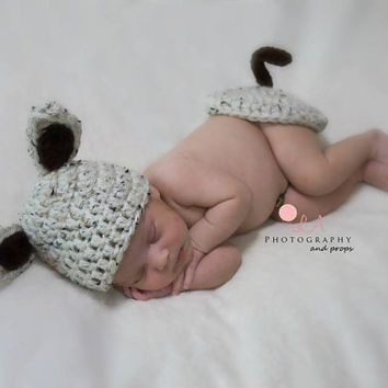 Newborn/Preemie Crochet Baby Puppy Dog Hat & Bum Cover. Baby Photo Prop Outfit For Newborn or Preemie.