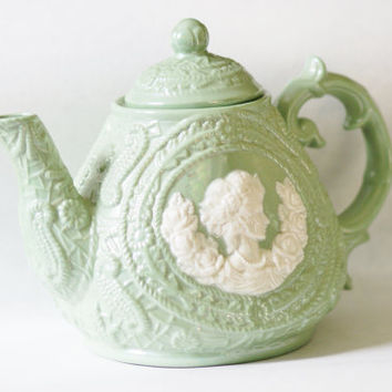 Large Victorian Mid Century Vintage Sage Green Teapot with White Lady Cameo and Roses Wreath