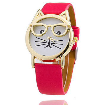 Unique Sunglasses Cat Leather Watch - Fect Watches + Gift Box
