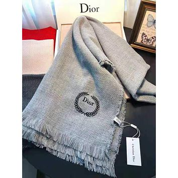 Christian Dior Fashionable Women Men Embroidery Warmer Cashmere Cape Scarf Scarves Shawl Accessories Light Grey