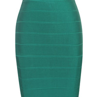 Green Pencil Cut Bandage Skirt
