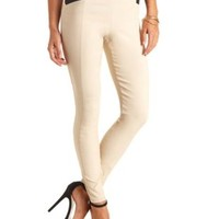 Stretchy High-Waisted Skinny Pants by Charlotte Russe - Beige