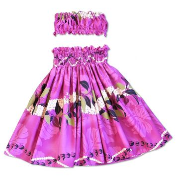 Tickle Pink Girl's Pau Hawaiian Hula Skirt Set