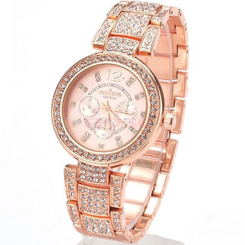 Women Dress Watch Gold and Silver Rhinestone Casual Women Quartz Crystal Wristwatch SV007410|28001 = 1956906500