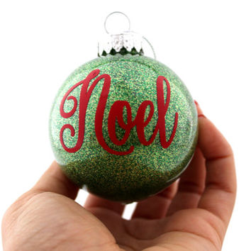 Noel glitter ornament, Glitter Christmas ornament, Glitter ornament, Vinyl ornament, Christmas ornament, Green Christmas ornament, Noel