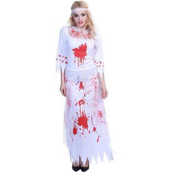 2018 New Quality Halloween Gothic Costume Horror Ghost Festival Ghost Party Party Carnival Women's Long Dress Zombies