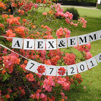 Bride and Groom Banner / Custom Names / Save The Date Banner / Photo Prop Sign / Bridal Shower Decor / Wedding Sign / Bridal Banner