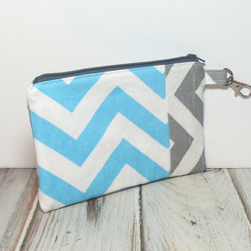 Aqua and Gray Clutch, Aqua Zipper Bag, Gray Chevron Clutch, Clutch for phone, Cell Phone Wallet, Girls Party Favor, School Clutch, Zip Bag