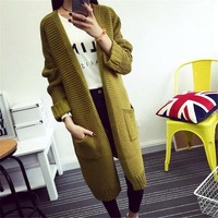 Women Sweater Long Cardigan 2018 Autumn Winter Jacket Long Sleeve Loose Thick Knitted Cardigan Female Sweaters Long Coat C2321