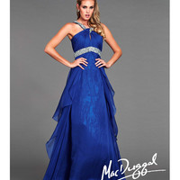 (PRE-ORDER) Mac Duggal 2014 Prom Dresses - Royal Chiffon Keyhole Halter Prom Dress