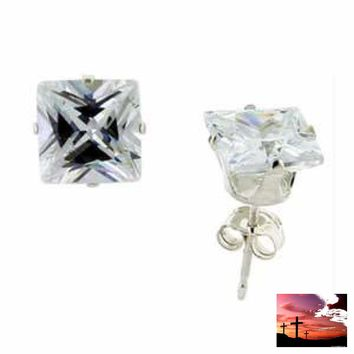 7 Mm Square 4.00 Carat Princess Cut Cz Sterling Silver Stud Earrings FREE SHIPPING!!!