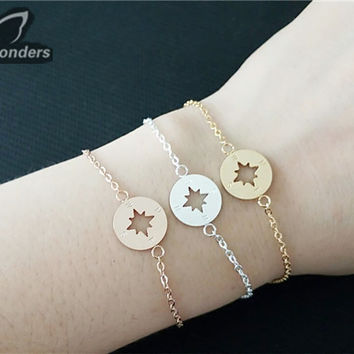 Silver Trendy Jewelry Stainless Steel Lucky Charms One Direction 18k Gold Plated Compass Bracelet For Women Hand Accessories silver