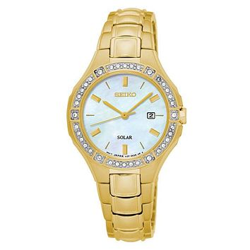 Seiko Womens Solar Crystal Sport Watch - Gold-Tone - Mother of Pearl Dial - Date