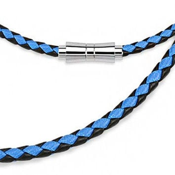 "Back in Black and Blue - Black and blue braided leather men's 20"" necklace with magnetic clasp"
