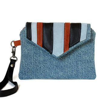 Denim Wristlet with Leather Patchwork, Blue Wristlet Wallet, Woman's Wrist Wallet, Small Handbag, Casual Hand Bag
