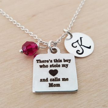 This Boy Stole My Heart Necklace - Swarovski Birthstone - Initial Necklace - Personalized Necklace - Sterling Silver Necklace - Gift for Her