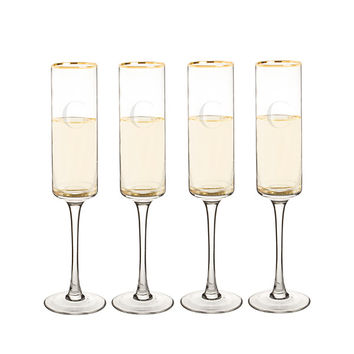 Personalized 8 oz. Gold Rim Contemporary Champagne Flutes (Set of 4)