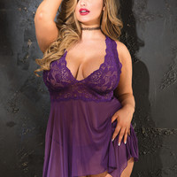 Stretch Lace & Stretch Mesh Babydoll