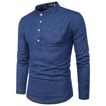 Mens Brief Style Front Pocket Buttons Denim Casual T-shirt Chinese Collar Long Sleeve Tops