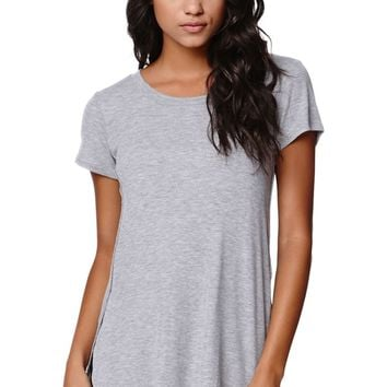 LA Hearts Ribbed Side Slit Tunic T-Shirt - Womens Tee - Grey