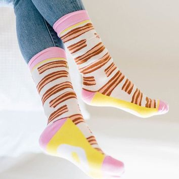 Woven Pear: Bacon & Eggs Socks
