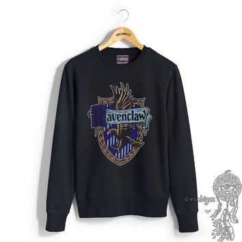 Ravenclaw Crest #2 Fullcolor printed on Black Crew neck Sweatshirt