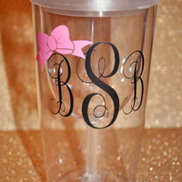 Monogrammed Bow Coffee Cup/Mug/Bottle/Infuser Bottle/Wine Glass/Wine Sippy Cup/Travel Mug