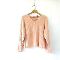 Vintage peachy pink cotton sweater. knit Henley cropped sweater. fall pullover. women's sweater size large