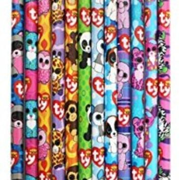 Ty Beanie Boo's Number 2 Lead Pencils, 7.5 x 0.5 Inches, Pack of 12, Assorted Character Designs, 815-6