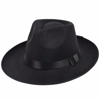 Men Women Wide Brim Fedora Trilby Panama Cap Outdoors Beach Sun Hat
