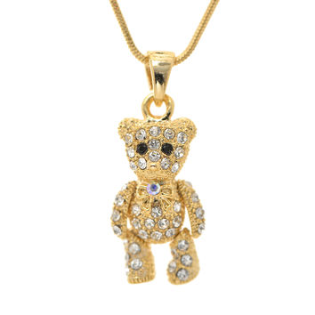 Crystal Cuddle Teddy Bear Necklace