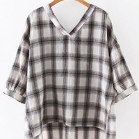 Coffee Dipped Hem Roll Cuff Plaid Blouse