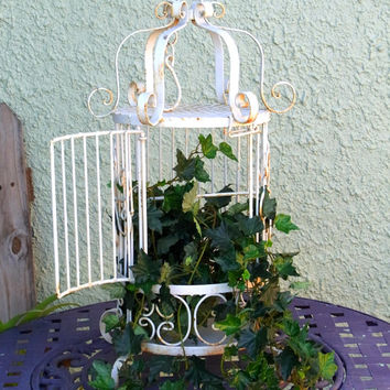 Vintage Chippy Wrought Iron Plant/Bird Cage Shabby Garden Decor Cottage Chic Wedding Decor