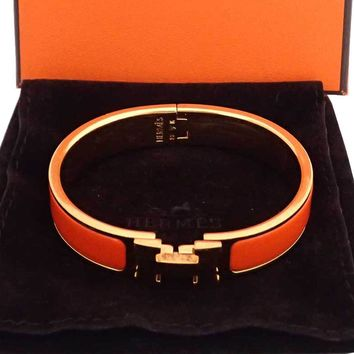Auth HERMES Clic Clac Bangle Bracelet Orange/Goldtone Enamel/Metal w/Box e35362