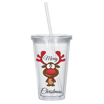 Christmas Tumbler, Reindeer Cup, Custom Double Wall 16 oz Tumbler, 20 oz Tumbler, Personalized Tumbler, Merry Christmas Tumbler, Holiday Cup