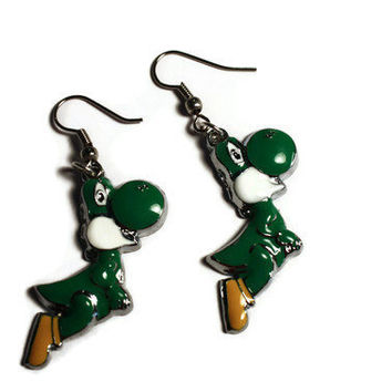 NINTENDO Character Yoshi Earrings by DeathwishDesign on Etsy