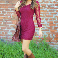 Leaf Me Be Lace Dress: Burgundy | Hope's