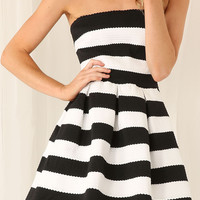 Striped Strapless A-Line Mini Skater Dress