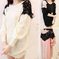 Korean Lace Shoulder Ol Sweatshirt Loose Long Sleeve Round Neck Sweater Knitwear