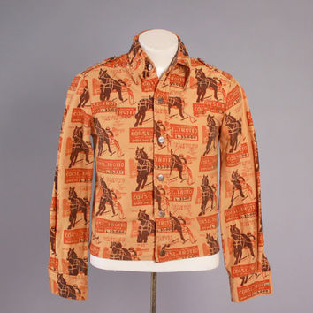 Vintage 70s Jacket / 1970s Men's Wrangler Novelty Horse Racing Print Western Flannel Shirt-Jac S - M