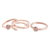 Kendra Scott Warren Stack Rings  - Rose Gold Drusy & CZ