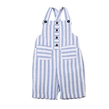 Kids Girls Clothing Stripe Jumpsuit Floral Romper Pocket Button Jumpsuit Outfit Sun suit Clothes